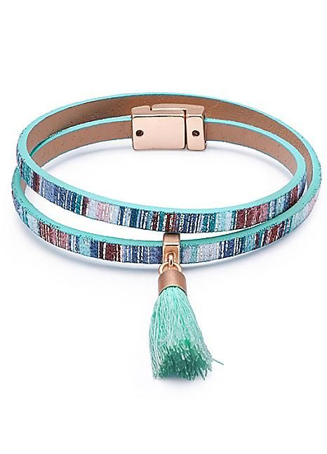 Turquoise PU Multi Wrap Bracelet
