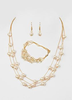 Classic Mother of Pearl Gold Necklace Set