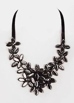Black Gem Ribbon Tie Statement Necklace
