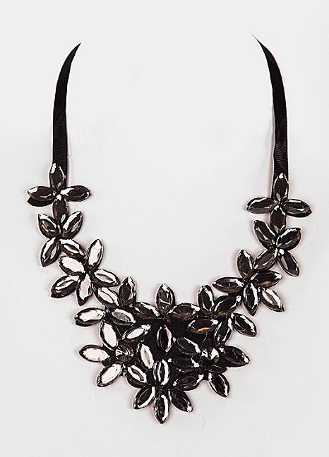 Black Gem Ribbon Tie Statement Necklace
