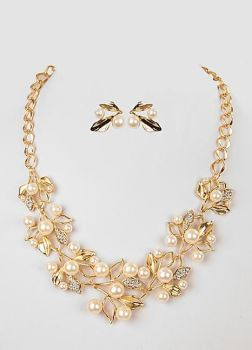 1920's Gold Pearl Statement Necklace Set