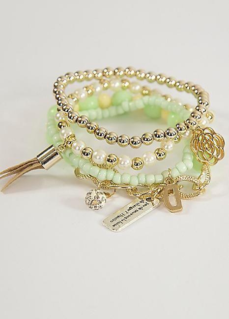 Love From Paris Mint Bead Bracelet