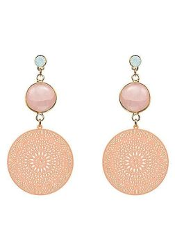 Rose Quartz Light Gold Tone Geometric Cut Out Earrings