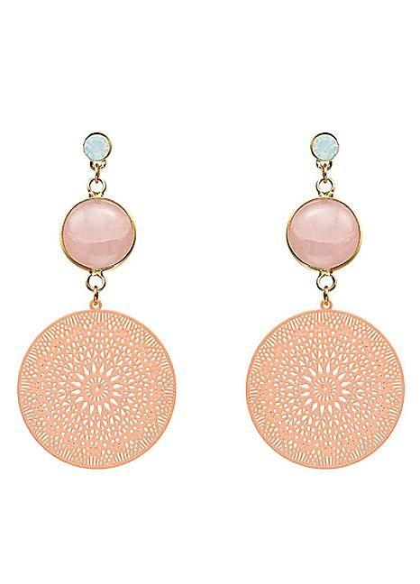 Rose Quartz Light Gold Tone Geometric Cut Out Earrings