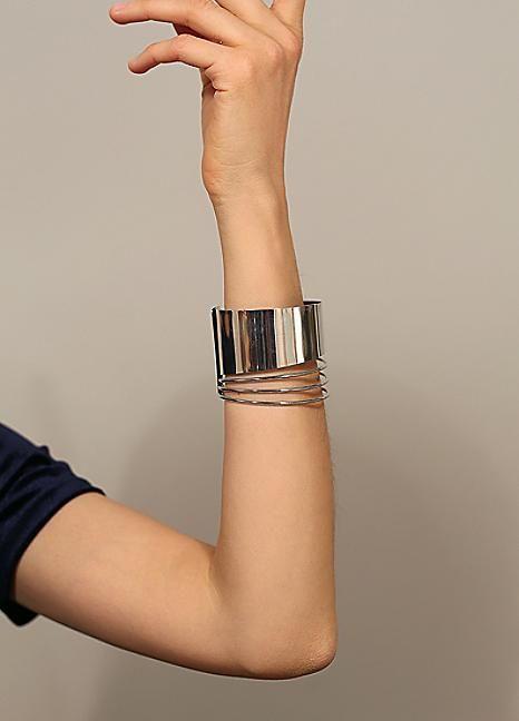 Silver Tone Block Arm Cuff