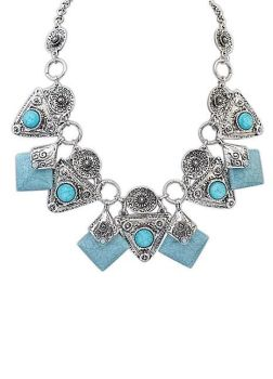 Light Blue Gem Stone Party Necklace