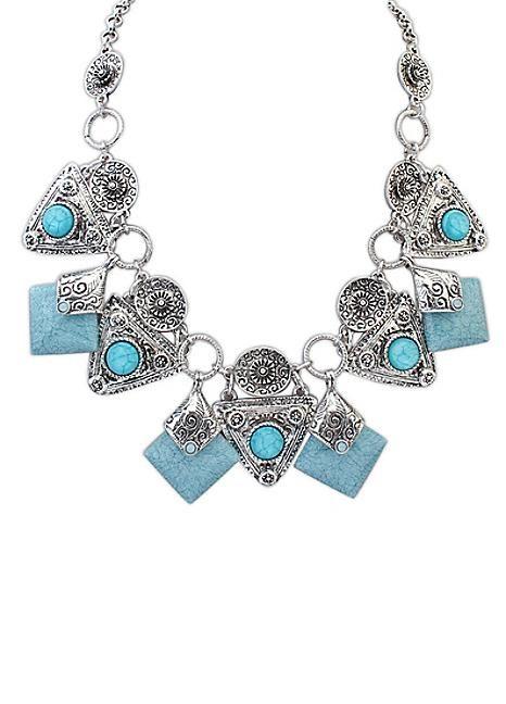 Light Blue Gem Stone Party Necklace
