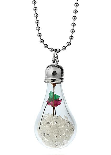 Hand Blown Glass Real Flower & Crystal Necklace