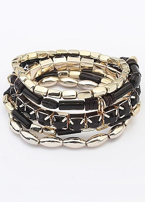 Black & Gold Party Stacker Bracelet Set