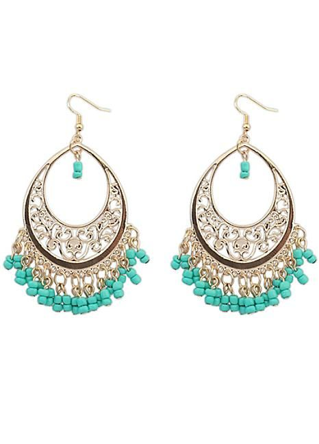 Gold Tone & Mint Beaded Earrings