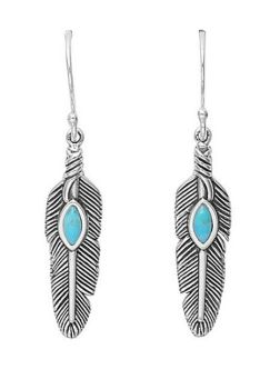 Silver Plated Turquoise Stone & Feather Earrings