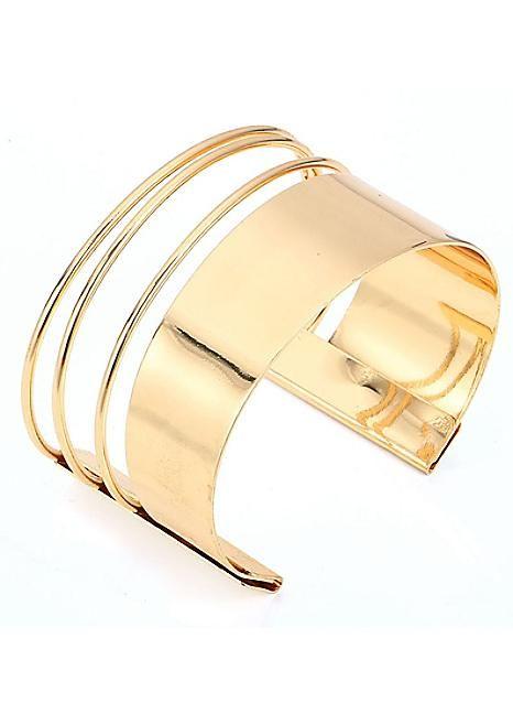 Gold Tone Block Arm Cuff