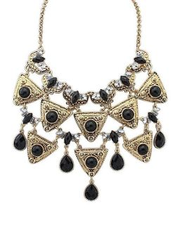 Black Gem & Gold Tone Statement Necklace