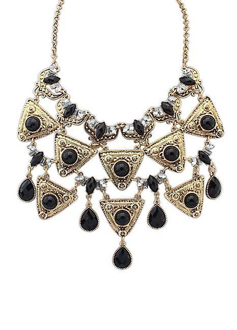 Black Gem & Gold Tone Statement Necklace