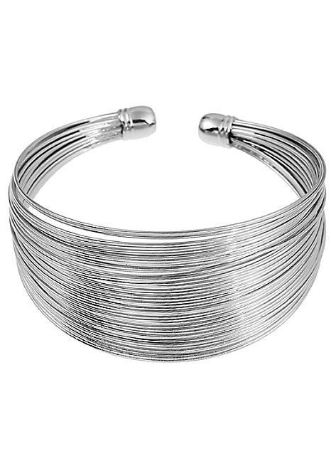 Silver Tone Coil Bangle
