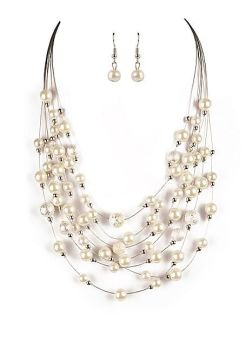 Classic String Faux Pearl Necklace & Earring Set