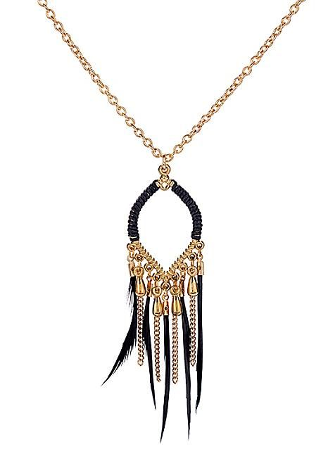 Black Feather Drop Necklace