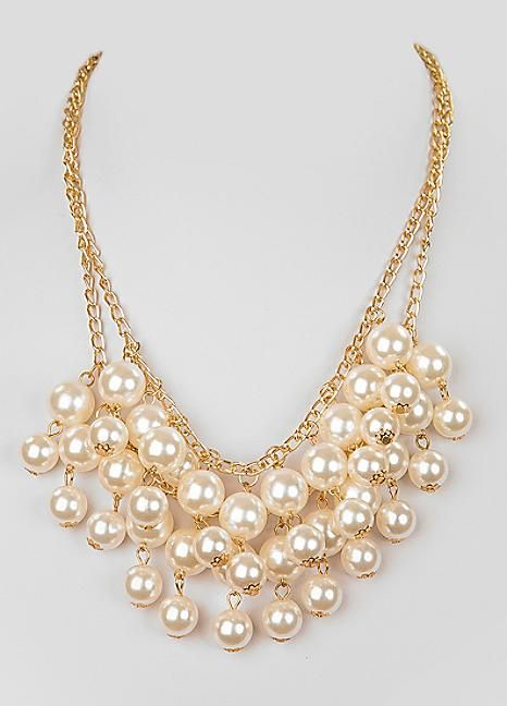 Large Statement Waterfall Pearl Necklace