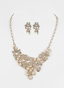 1920's Glamour Mother of Pearl Silver Necklace Set