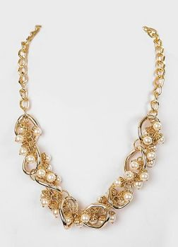 Gold Art Deco Style Pearl Necklace