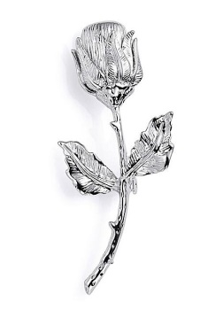 Silver Plated Rose Brooch