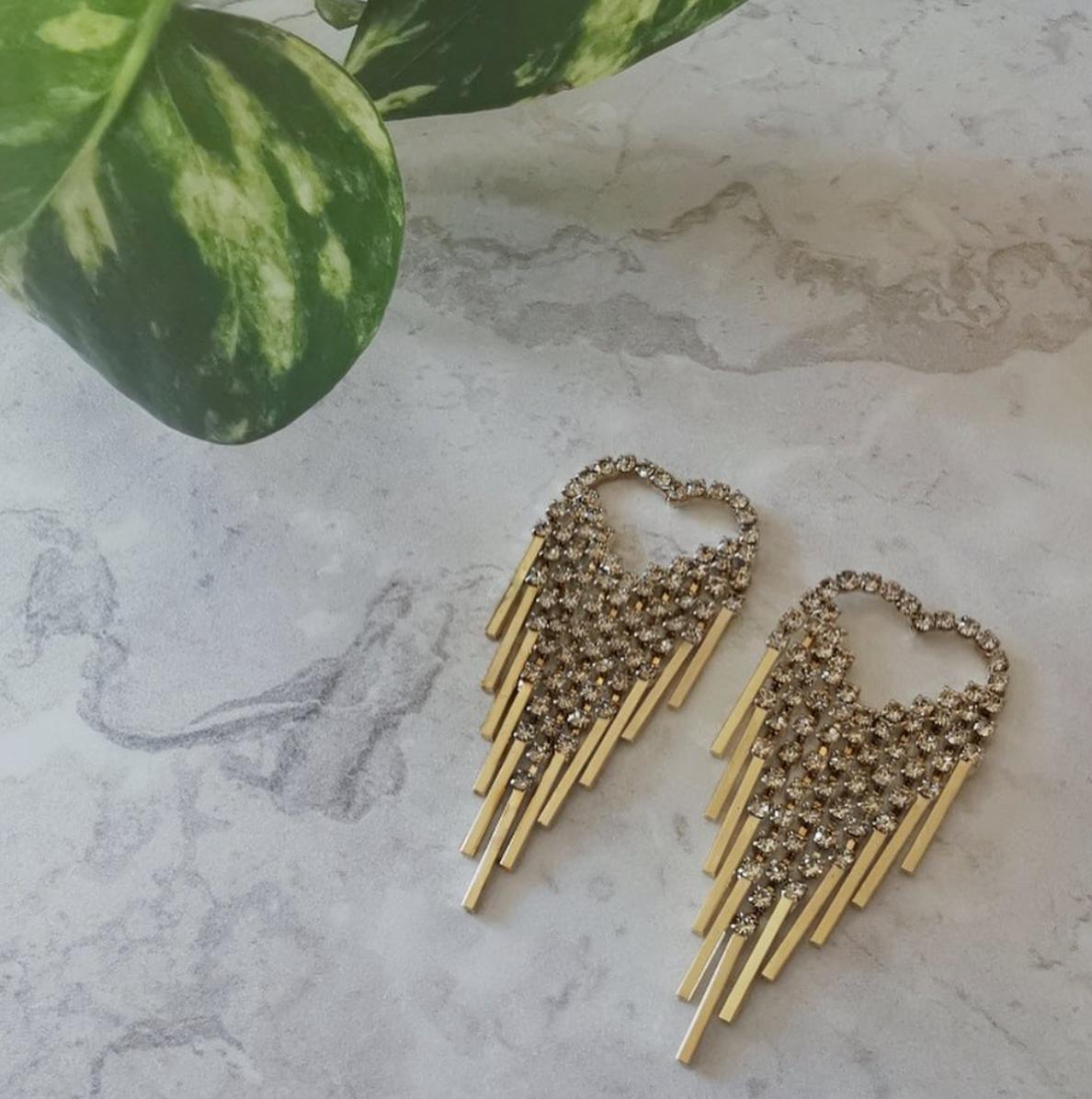 Gold Tone Cubic Zirconia Heart Drop Earrings by Emi Jewellery