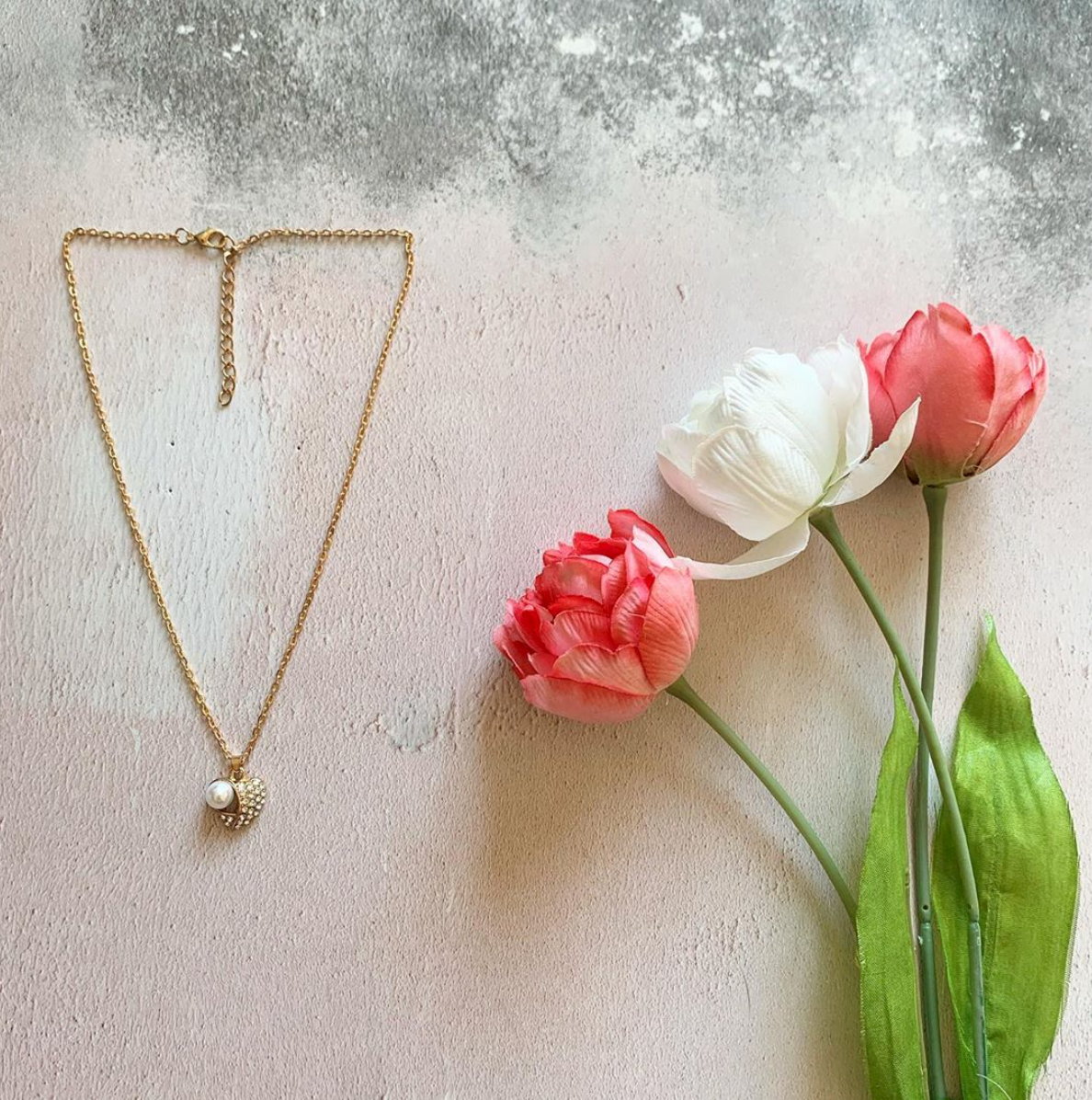 Mother of Pearl Heart and Rhinestone Necklace by Emi Jewellery