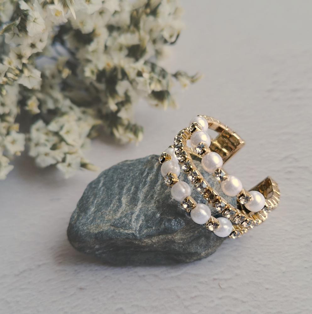 Rhinestone Adjustable Ring by Emi Jewellery
