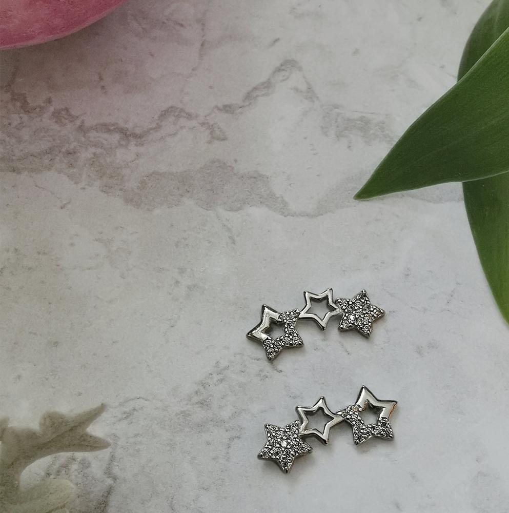 Cubic Zirconia Star  Ear Climber by Emi Jewellery