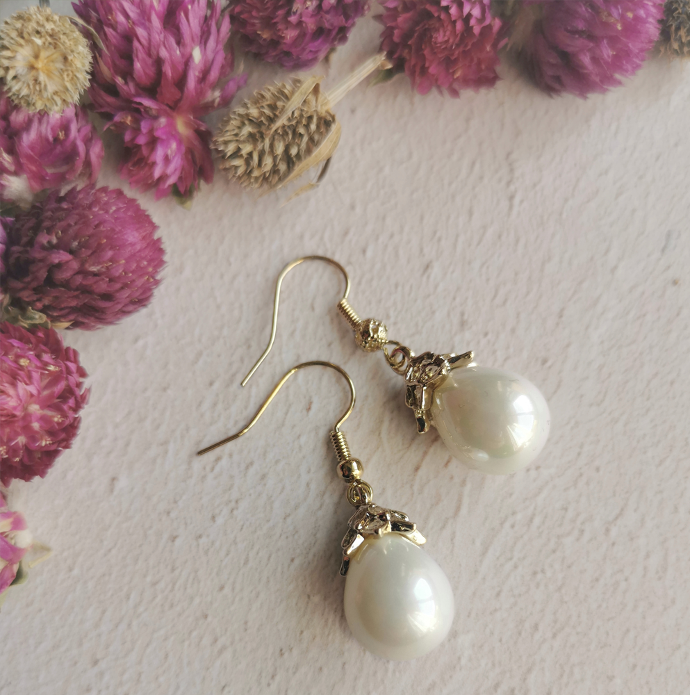 Mother of Pearl Earrings Mini Drop by Emi Jewellery