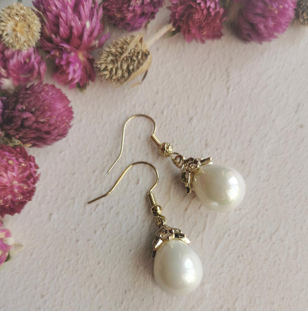 Mother of Pearl Earrings Mini Drop by Emi Jewellery