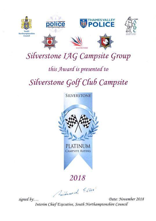 PLatinum Campsite Award
