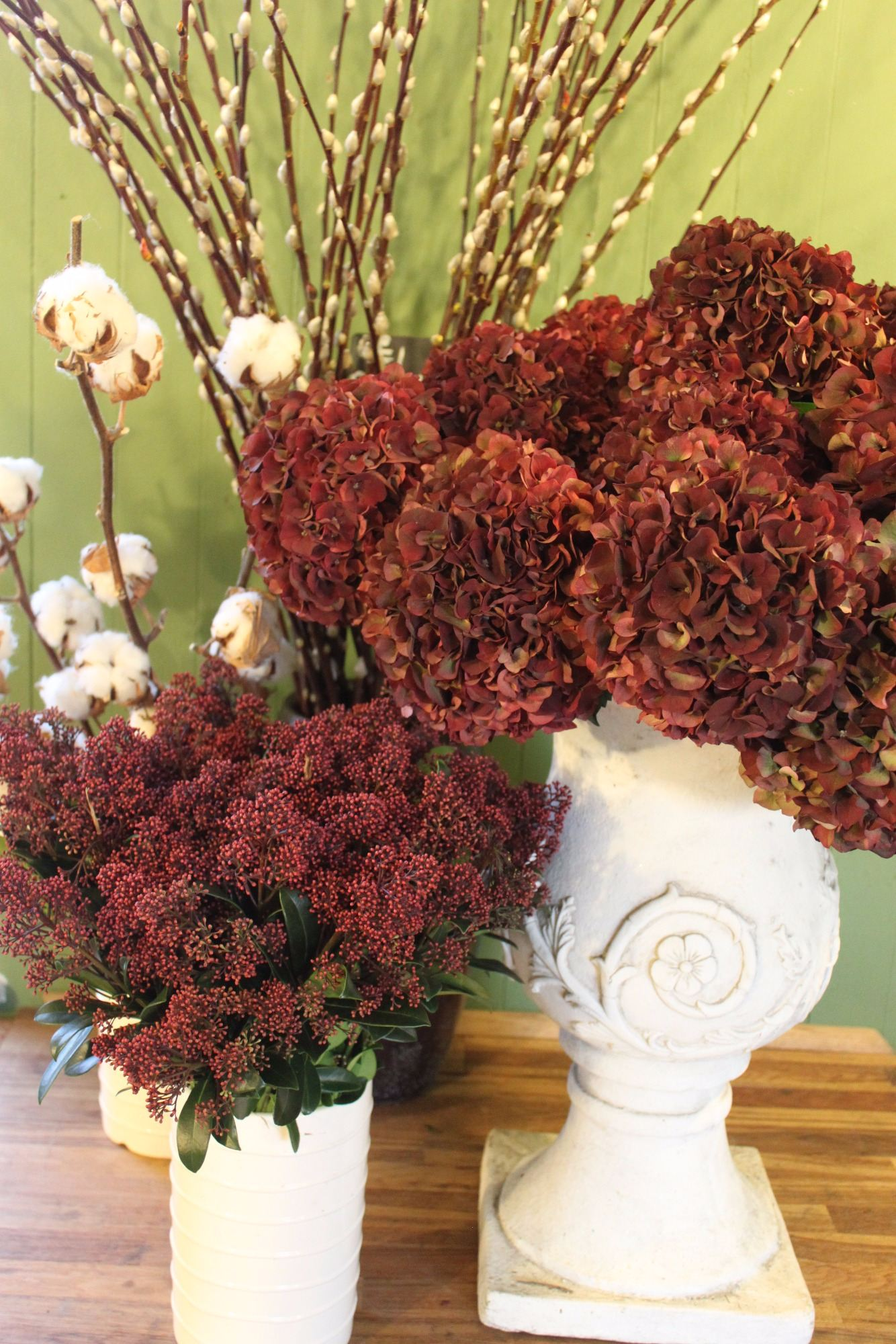Burgundy hydrangeas at Christmas