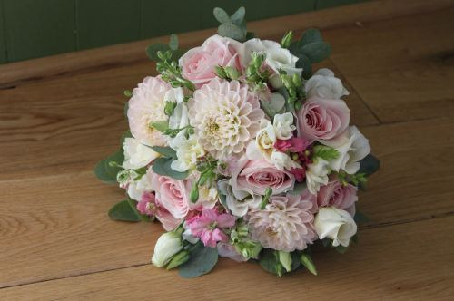 pale pink rose and dahlia brides bouquet