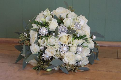 Rose and jewel brides bouquet