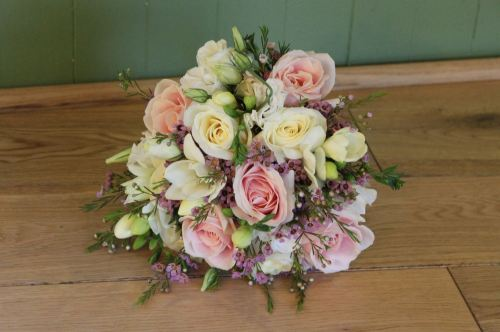 vintage pink and white rose brides bouquet