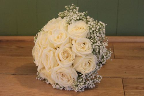 Rose and babies breath brides bouquet