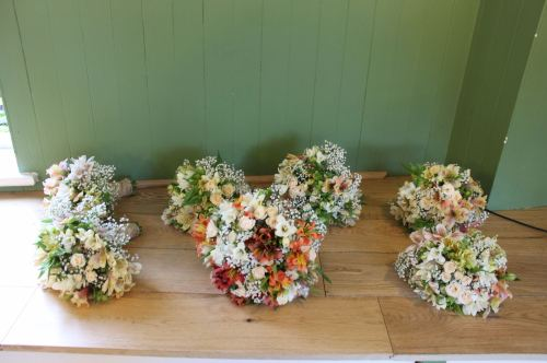 Alstoemeria and gypsophila brides bouquet