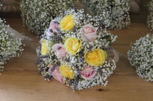 Rose and gypsophilia brides bouquet