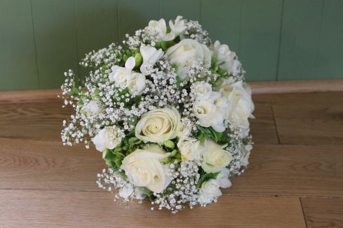 Rose Freesia and babies breath brides bouquet