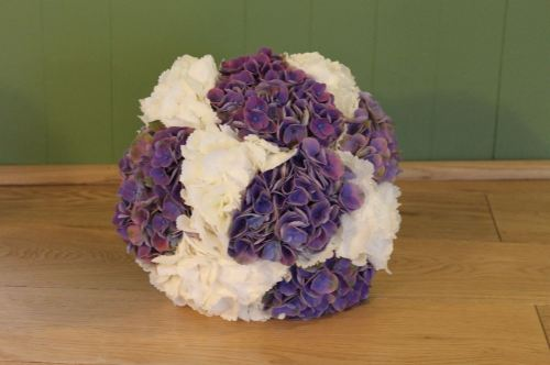 white and purple hydrangea brides bouquet