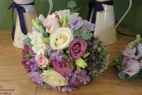 vintage rose and hydrangea brides bouquet