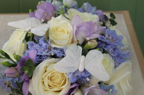 rose and delphinium brides bouquet