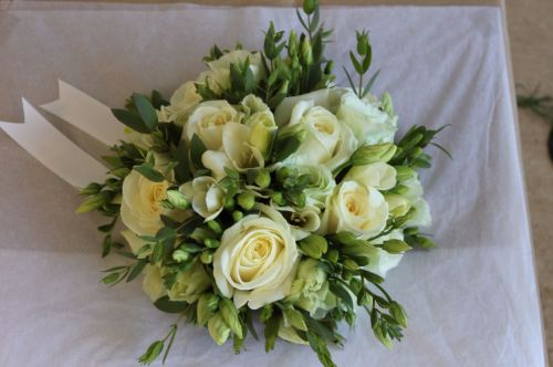 Rose freesia and lisianthus brides bouquet