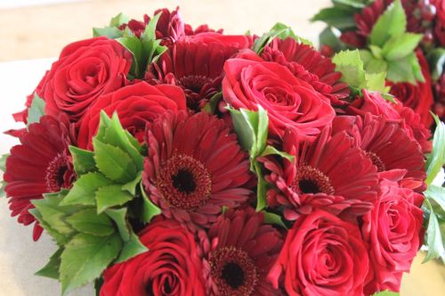 Red rose and gerbera brides bouquet