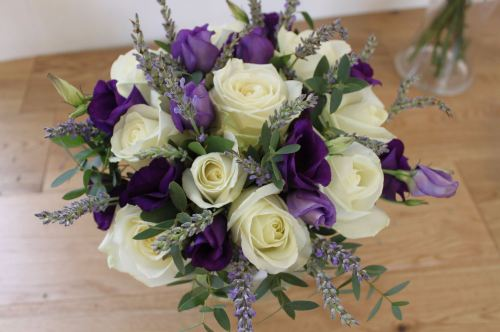 Rose and lavender brides bouquet
