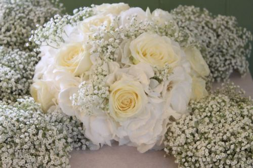 rose gypsophilia and hydrangea brides bouquet
