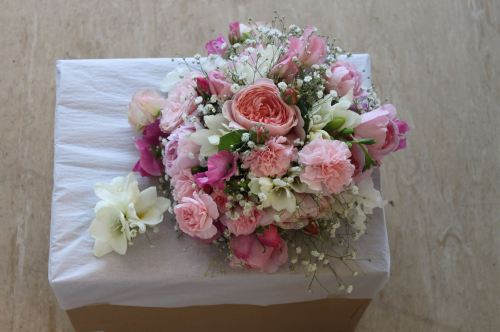 english rose and freesia bridal bouquet