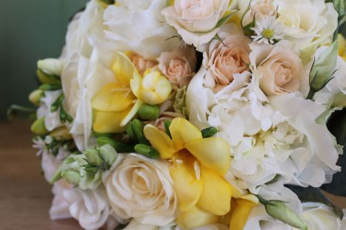 Ivory cream and yellow brides bouquet