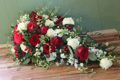red rose brides shower bouquet